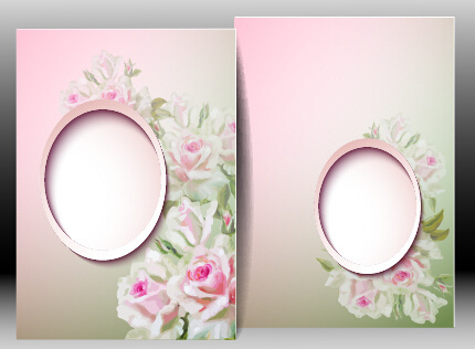 spring flowers cards set vector