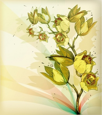 flower painting blooming sketch classic handdrawn design