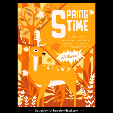 spring flyer natural reindeer plant decor classical design