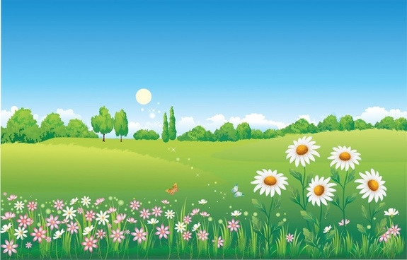 spring landscape background colorful flowers hill icons decor