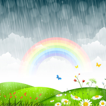 spring landscape with flower and rainbow