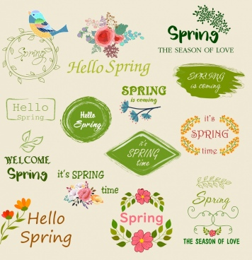 spring logotypes bird flowers texts decor