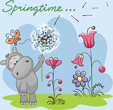 spring lovely animal cartoon vector