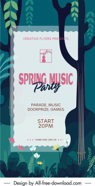 spring music banner dark classic flat design