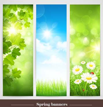 spring natural banners vector set