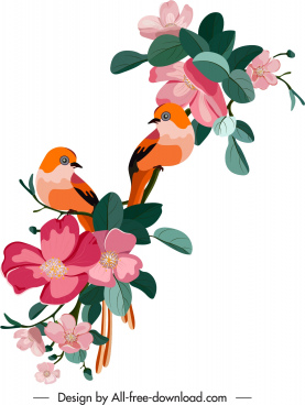 spring painting floras birds decor colorful classical design