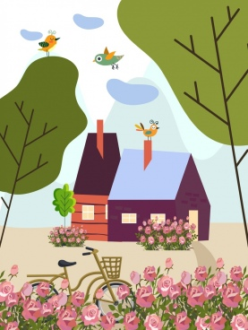 spring painting house trees flowers birds icons decor