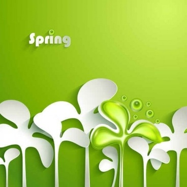 spring paper green design vector