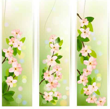 spring pink flowers banner vector