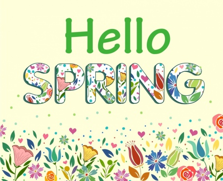 spring poster colorful flowers texts sketch