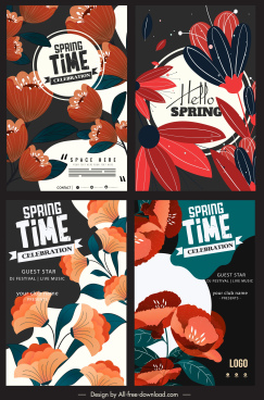 spring poster templates blossom flora decor colorful classic