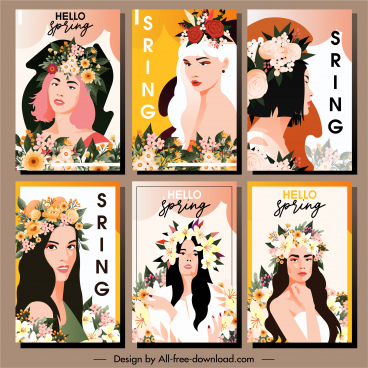 spring posters young girl portraits flowers hairstyle decor