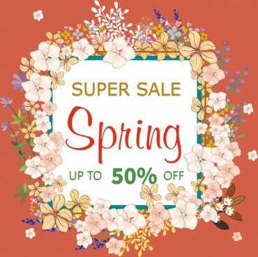 spring sale banner flowers frame decoration