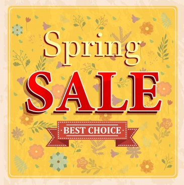 spring sale banner flowers icons decoration