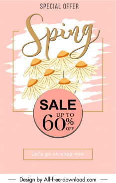 spring sale banner template classical elegance petals decor