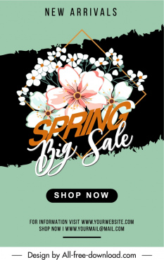 spring sale banner template elegant classical petals decor