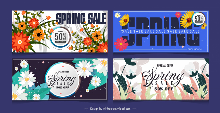 spring sale banners horizontal colorful flowes leaves decor