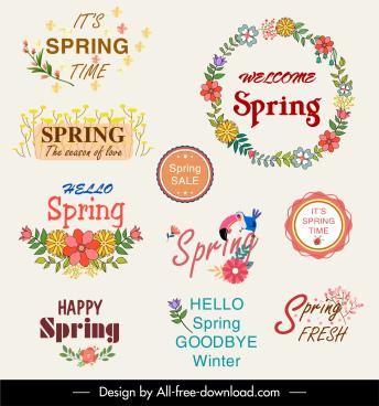 spring sale labels templates colorful elegant decor