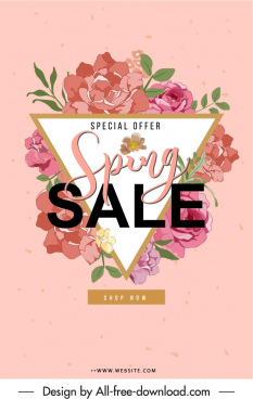 spring sale poster colorful elegant classic floras decor