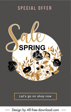 spring sale poster dark classic handdrawn botanical decor