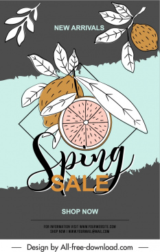 spring sale poster retro handdrawn lemon fruits sketch