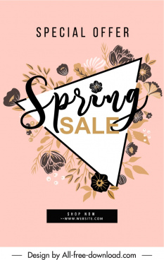 spring sale poster template classical handdrawn botany decor