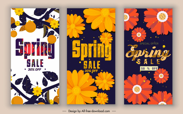spring sale posters colorful classical petals decor