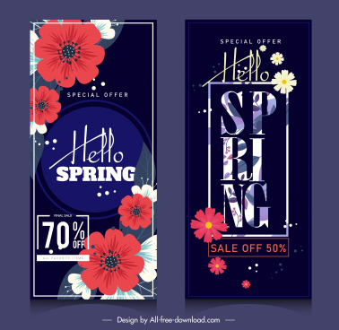 spring sale posters vertical dark multicolored petals decor