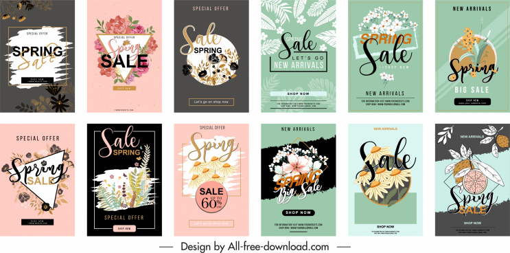 spring sales templates collection classical plants decor