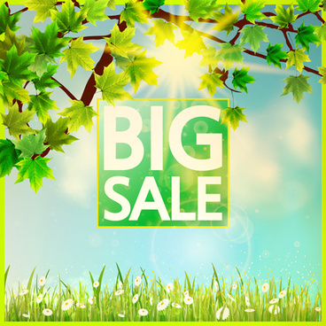 spring scenery with big sale vector background