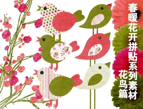spring series of collage flowers birds articles