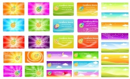 spring style cards with banner colored vector