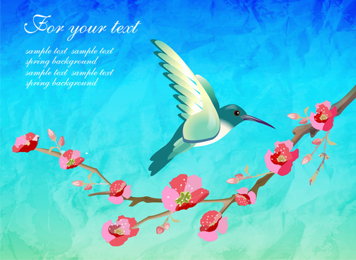 spring template with bird and flowers illustration