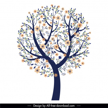spring tree icon blossom sketch classic flat