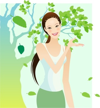 woman painting falling leaves decor cartoon character