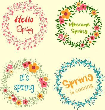 spring wreath icons collection circle flowers decoration