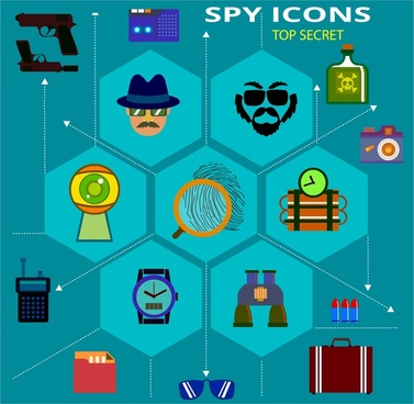 spy icons with tools and symbols infographic illustration