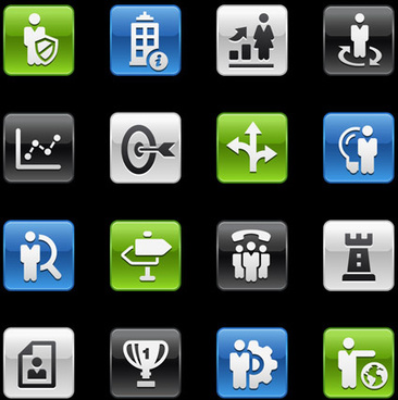 square business planning series icons vector