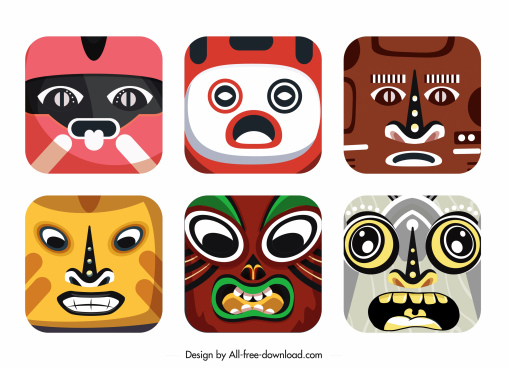 square masks templates colorful decor emotional sketch