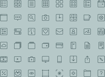 square outline icons set
