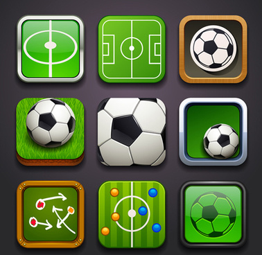 square soccer balls icons vector set