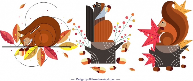 squirrel animal icons classical colorful flat design