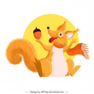 squirrel icon cute stylized cartoon character colorful classic