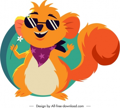 squirrel icon cute stylized cartoon character sketch