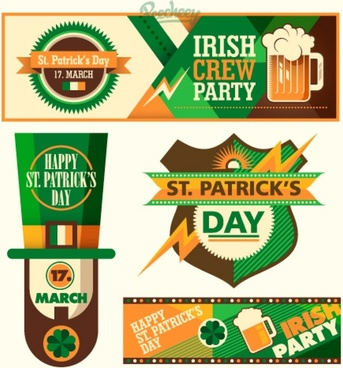 st patricks day banners and stickers set