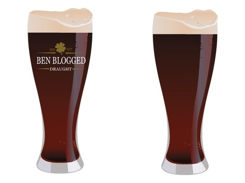 cold draught beer glasses vector illustration