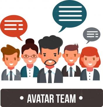 staff avatars icons speech baubles decor colored cartoon
