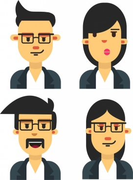 staff lifestyles icons portrait avatars colored cartoon design