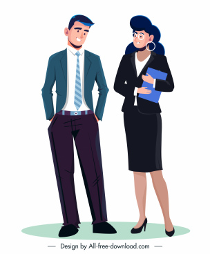 staffs icons elegant clothing sketch cartoon characters