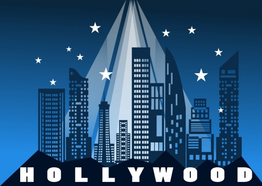 stage backdrop modern city icons decoration